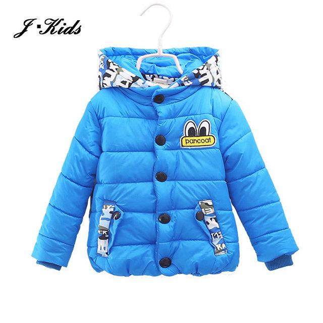 Nuevos muchachos del invierno Abajo y abrigos esquimales moda 1-4años niños camuflaje prendas de vestir exteriores para niños espesar algodón de los bebés con capucha abrigos