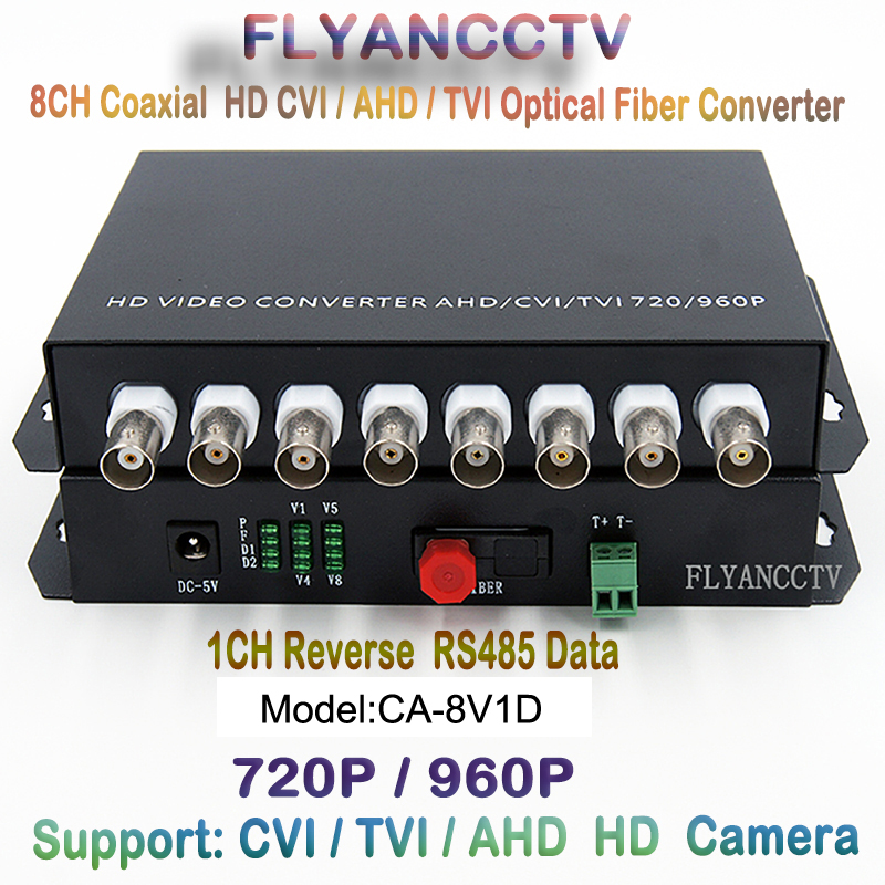 HD CVI 8 Channel Video RS485 Data Optical Media Converter Transmitter Receiver -1Pair For 720P 960P AHD CVI TVI HD Cameras CCTV