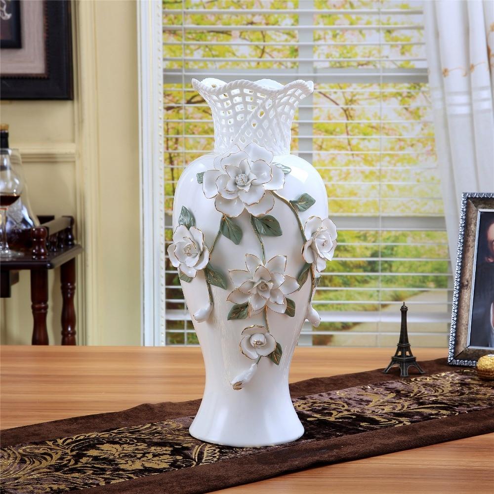 Ceramic Big White Modern Flowers Vase Home Decor Large Floor Vases For Wedding Decoration Handicraft Porcelain Figurines