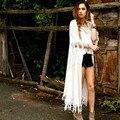 2016 summer style fashion Bohemian style women Beach cover up long chiffon cardigan fringed