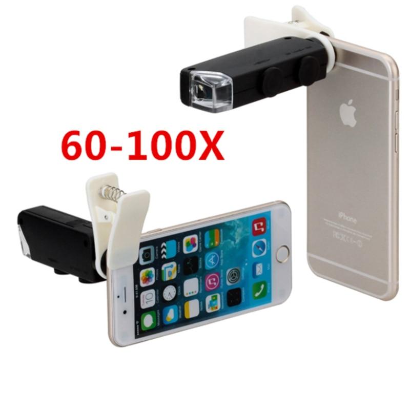 APEXEL Universal Clip LED Microscope 60X-100X <font><b>Zoom</b></font> Magnifier Micro Mobile <font><b>Phone</b></font> Camera <font><b>Lens</b></font> For iPhone 6S plus 5S Samsung Huawei