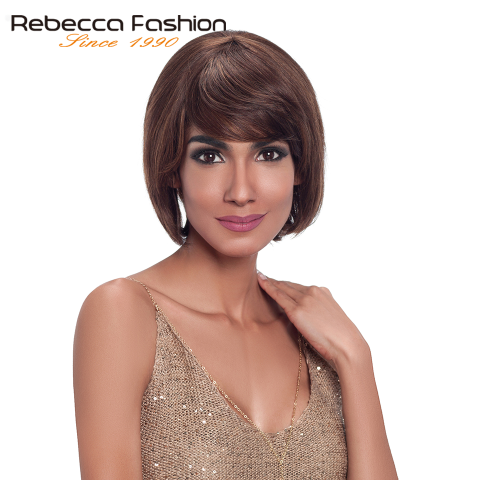Rebecca Human Hair Wigs For Black Women Machine Made Non Lace Brazilian Straight Hair Short Wig Free Shipping