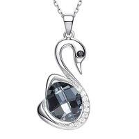 Heezen Little Black Swan Shaped Pendant Necklace Fashion Jewelry Austrian Rhinestone Statement Necklace Bijous Gifts for Women