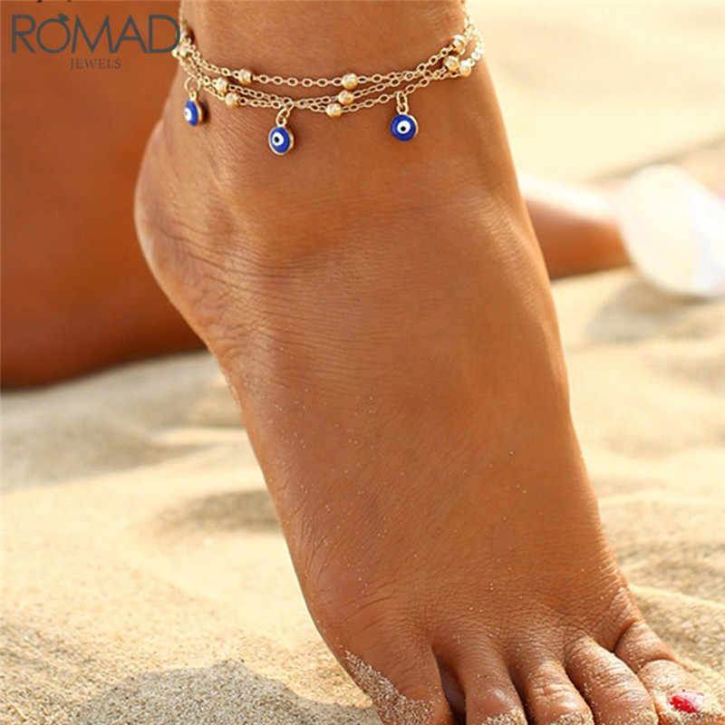 GS 2 Style Turkish Eyes Beads Anklets For Women Crochet Sandals Vintage Sandals Pendant Anklet Bracelet Foot Chain Jewelry R5