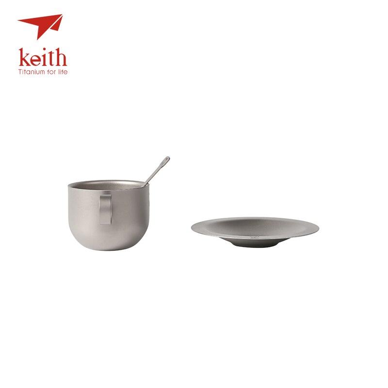 Keith titane Camping tasse à café ensemble titane soucoupe cuillère ultraléger extérieur voyage vaisselle thé tasses ensemble tasse 150 ml Ti3601 - 4