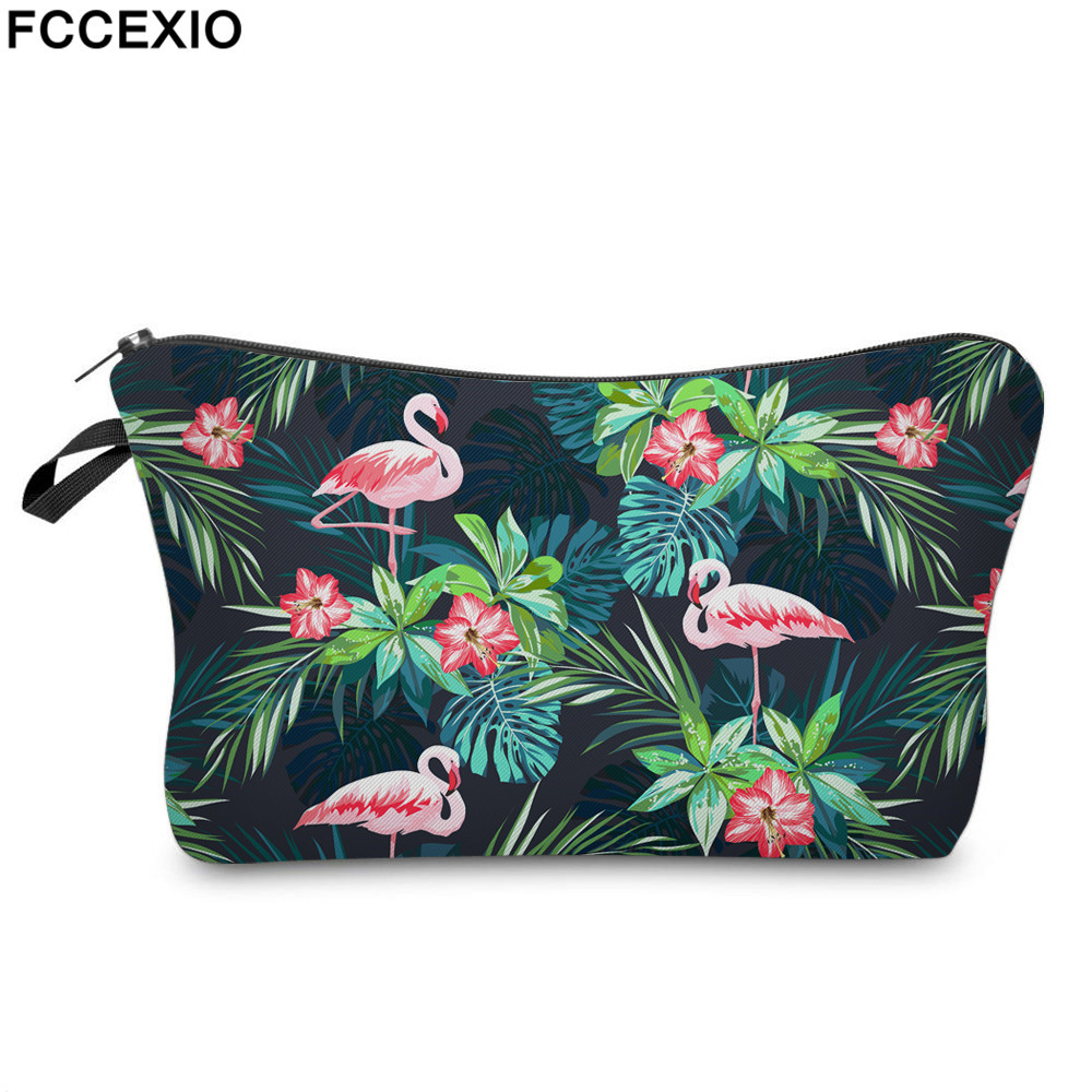 FCCEXIO Print Cosmetic Bag Flamingo with Tropical Flowers Palm Green Fresh Fashion Portable Makeup Bag Travel Toiletry Organizer palm print cami dress