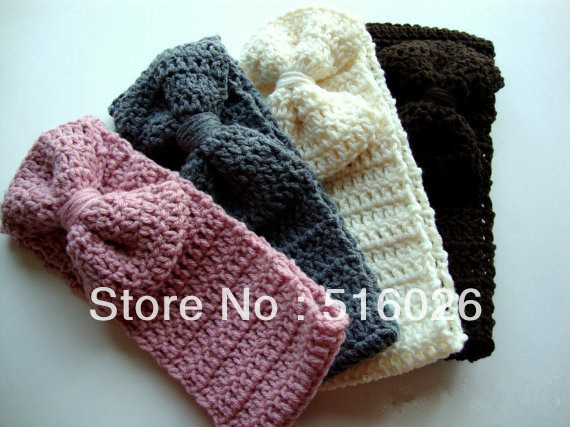 Fashion Girl Crochet Headband with Bows Head Accessories 50pcs/lot 12 color