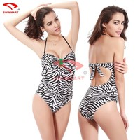 2015 Wholesale Women Swimsuit HOT Vintage Buckled Zebra Fabric Sex Bathing Suit Sexy Backless One Piece