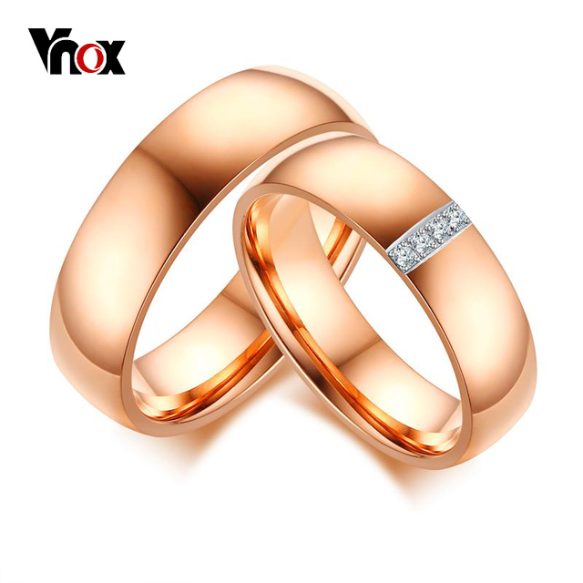 vnox classic wedding rings for women men rose gold color cz stones alliance anniversary promise - Classic Wedding Rings