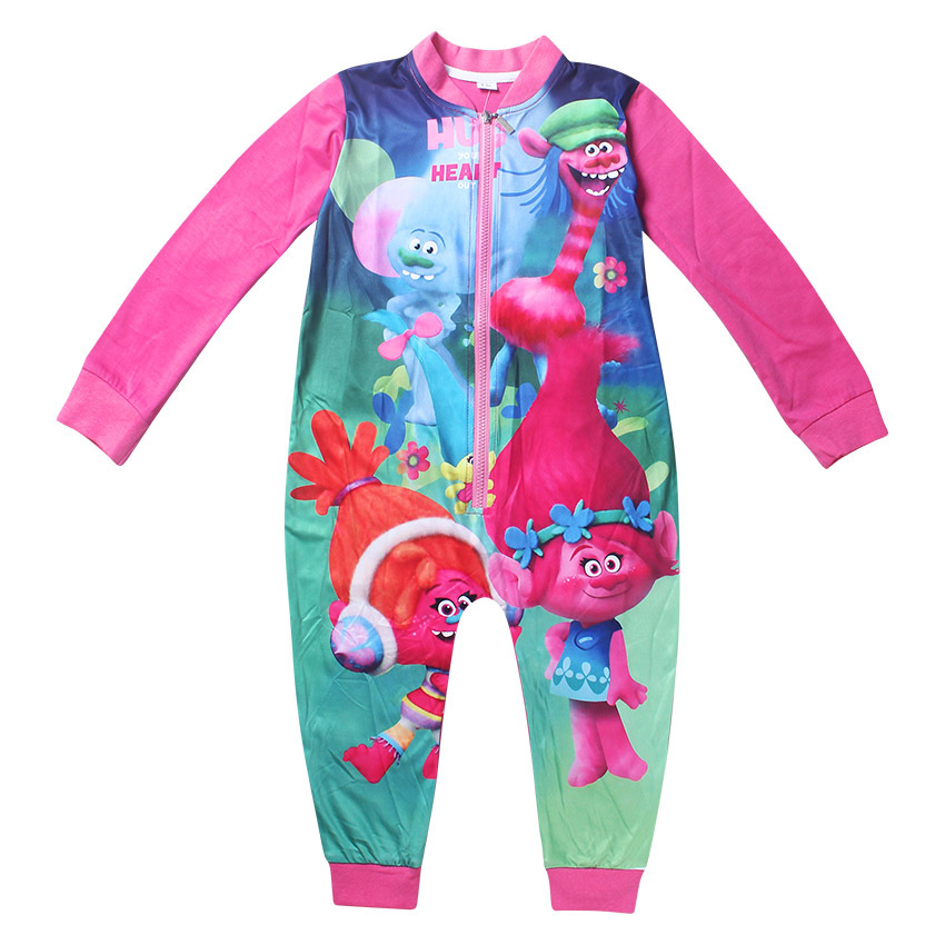 Trolls pijimas clothes Baby boys girls Tracksuit Children clothing Sets long sleeve kids jumpsuit Gifts One Piece pajamas Jeans