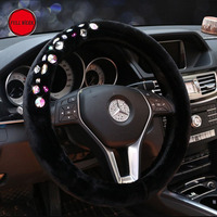Fashion Plush Winter Car Steering Cover Steering Wheel Protector Guard Wrap For Women Girls Auto Interior