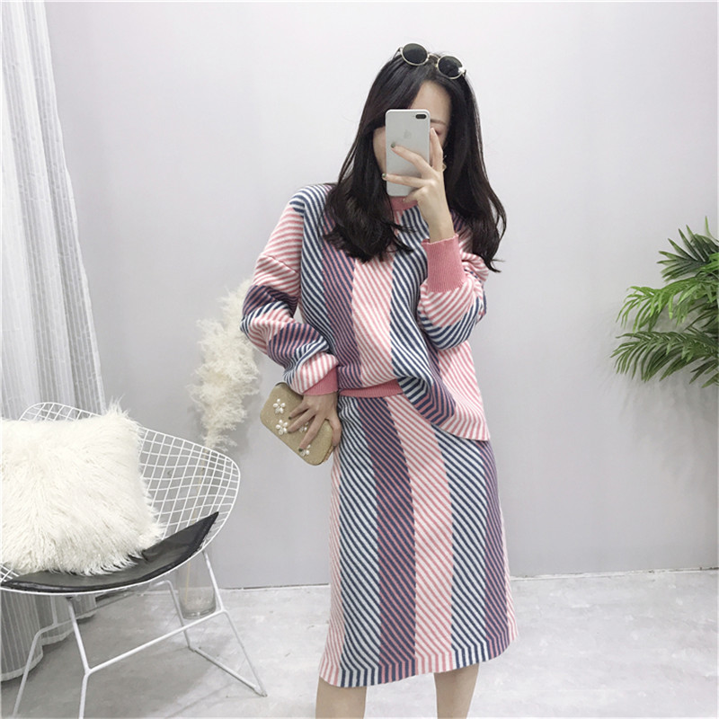 Female Thick Sweaters Sets 2018 Autumn Winter Fashion New Sweet Slim Bodycon Skirt Suits Striped Two