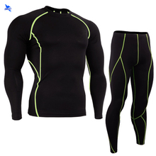 New Dry Fit Compression Tracksuit Fitness Tight Running Set Long Sleeve T-shirt Leggings Mens Sportswear Black Gym Sports Suits