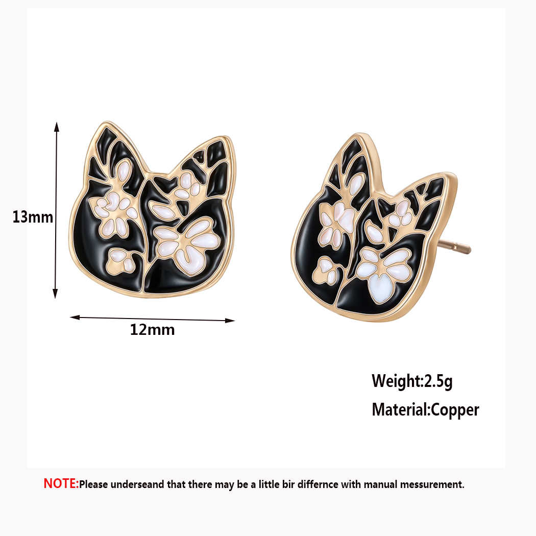 Cxwind 2019 Cute kitten Ear Studs Fashion Golden Color Stainless Steel Black Cat Flower Stud Earrings Female Jewelry Gift