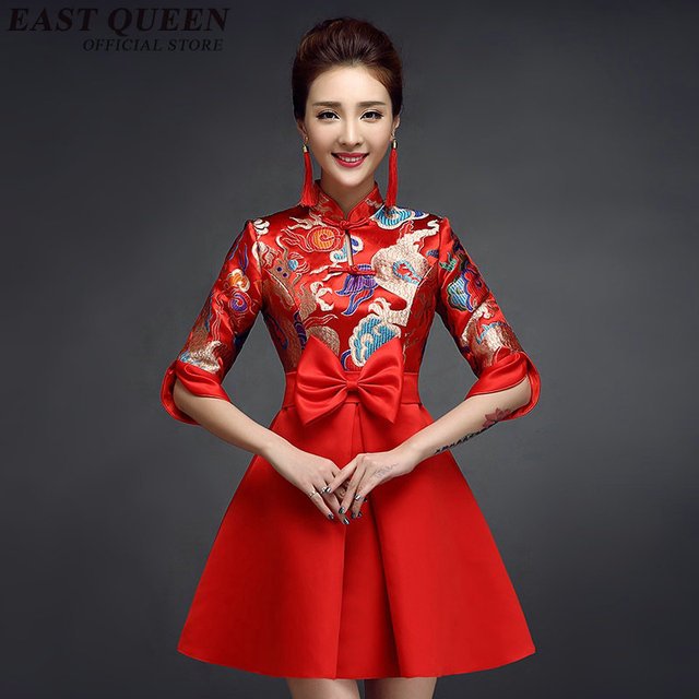 Chinese traditional dress red modern chinese dress qipao ...