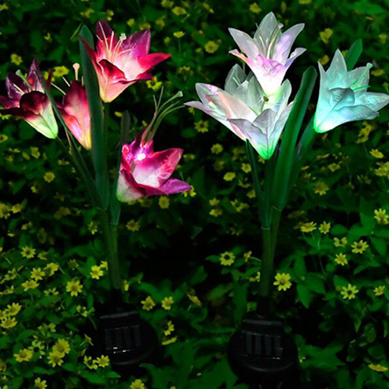 Solar Lights For Garden Decoration LED Solar Lamp Colorful Lily Flower Christmas Outdoor Lighting Waterproof Solar Light (7)