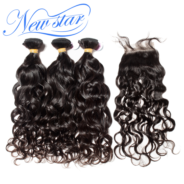 Us 144 29 53 Off New Star Hair Brazilian Natural Wave 3 Bundles Hair Extension With A 4x4 Free Or Middle Part Closure Virgin Human Hair Weaving In