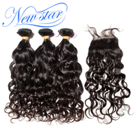 New Star Hair Brazilian Natural Wave 3 Bundles Hair Extension With A 4x4 Free Or Middle Part Closure Virgin Human Hair Weaving