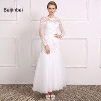 Baijinbai Full Sleeves New Real Wedding Dresses 2017 Vestido De Noiva Button See Through Back Appliques