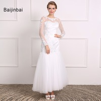 Baijinbai Full Sleeves New Real Wedding Dresses 2017 Vestido De Noiva Button See Through Back Appliques