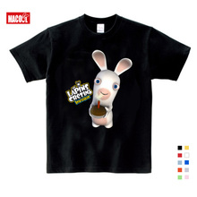 3-9 Years Old Cartoon Child Crazy Rabbit Print T-shirt Boy Girl Rabbit Funny Child T-shirt Summer White Round Neck Cotton Shirt цена 2017