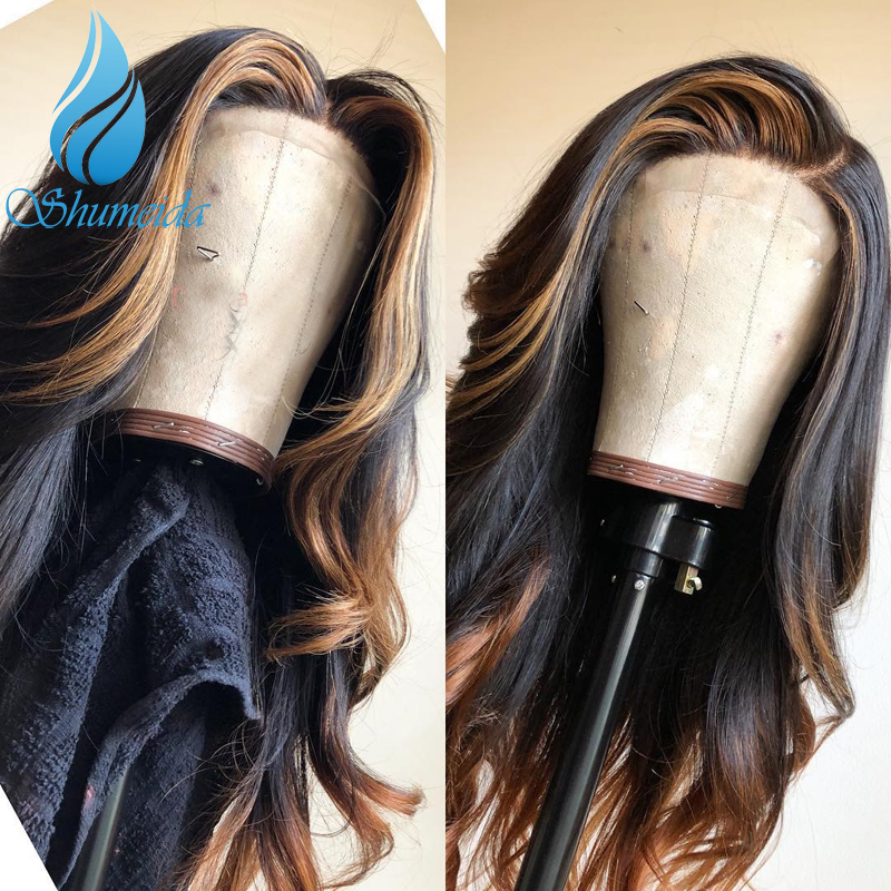 SHD Highlight Color 13 6 Frontal Lace Wigs with Middle Part Brazilian Remy Human Hair Long