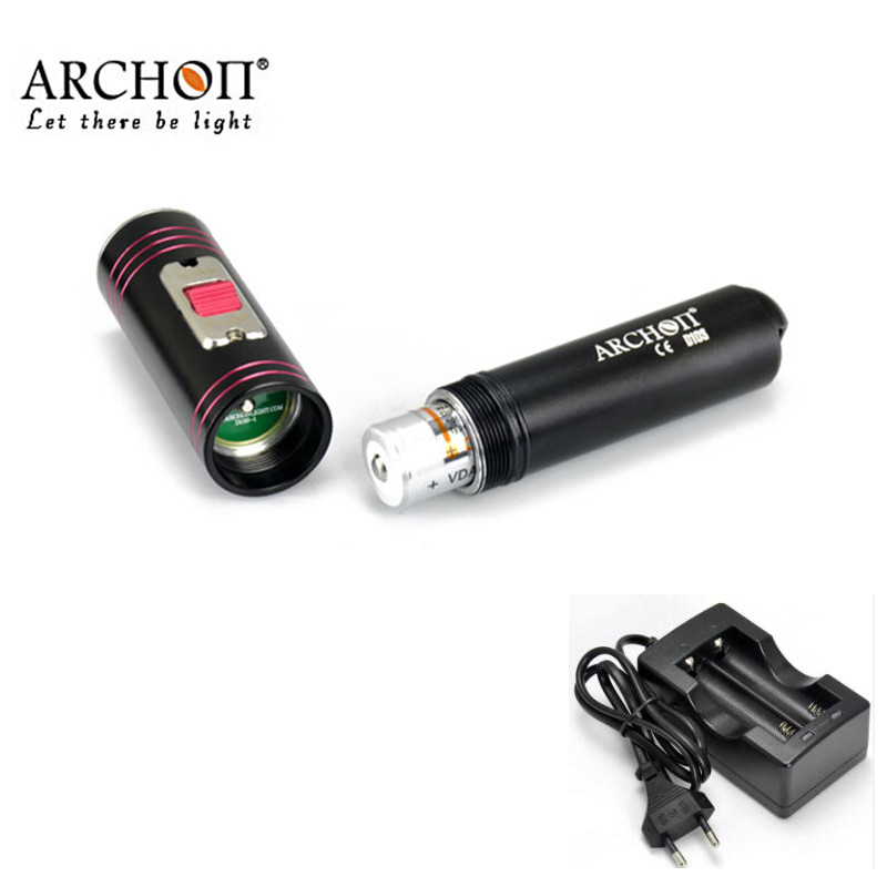 Diving flashlight ARCHON D10S black XM-L U2 LED max. 860LM 100 meters underwater waterproof dive torch with battery +charger