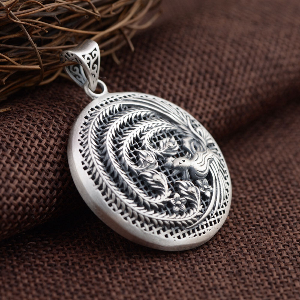 FNJ 925 Silver Phoenix Pendant New Fashion Round 100 Pure S925 Solid Thai Silver Pendants for