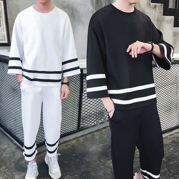 M-XXXL!!!Spring and summer models loose shoulders seven-point sleeve sweater youth sports and leisure suit nine pants.