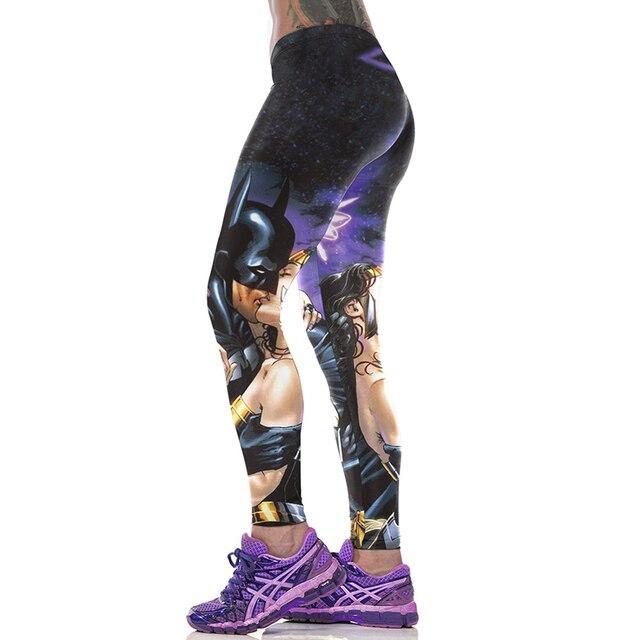 NEW Fashion Sexy Girl Women Cartoon Comics Batman Kiss Wonder Woman 3D Printing High Waist Workout Fitness Leggings Pants