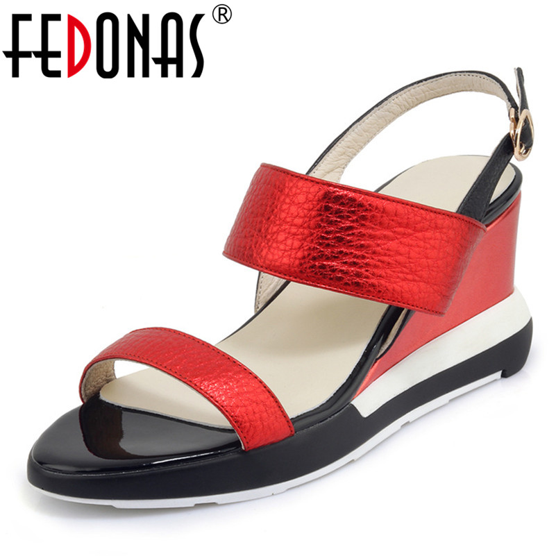 FEDONAS Summer New Fashion Novelty Women Sandals Classic Genuine Leather High Heels Party Night Club Shoes