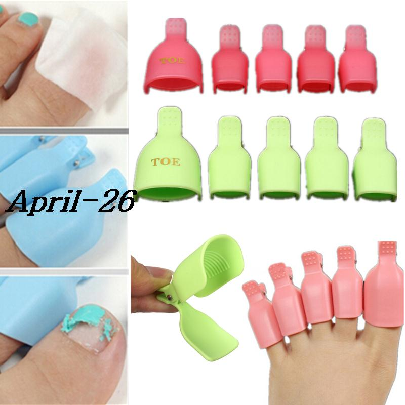 Health Beauty Nail Toe Art: 10pcs Plastic Toes Toe Nail Art Soak Off Clip Cap UV Gel