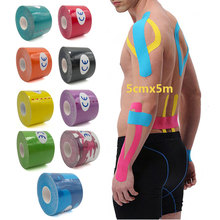 все цены на 5cm x 5m Sports Muscle Sticker Kinesiology AthleticTape Cotton Elastoplast Adhesive Bandage Care Physio Strain Injury Support S онлайн
