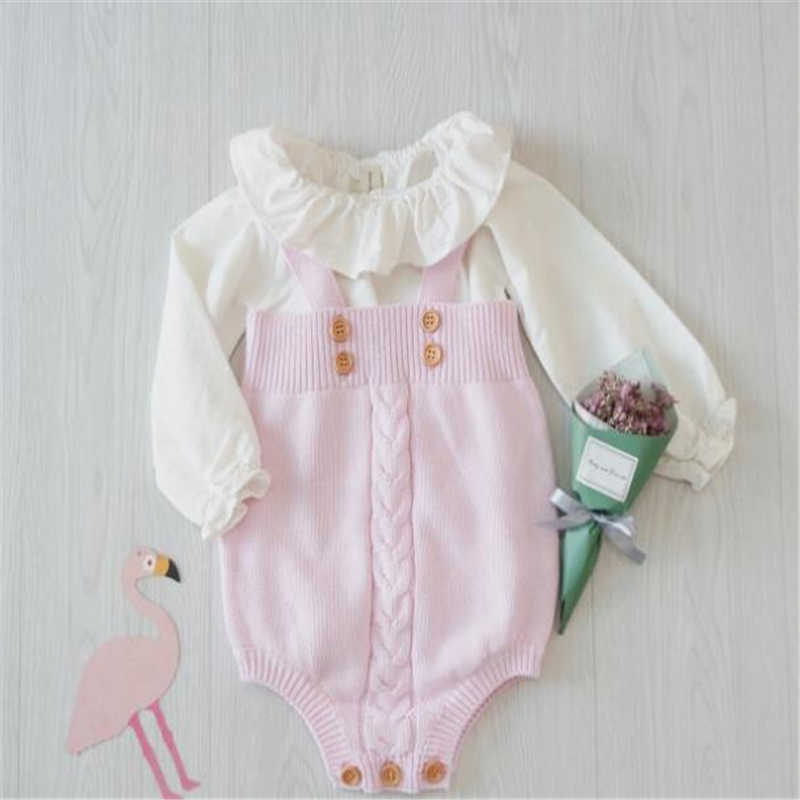 Rajutan Pakaian Bayi Baru Lahir Bayi 100% Kapas Bayi Gadis Anak Laki-laki Baju Monyet Sleeveless Infantil Bayi Bayi Jumpsuit Overall