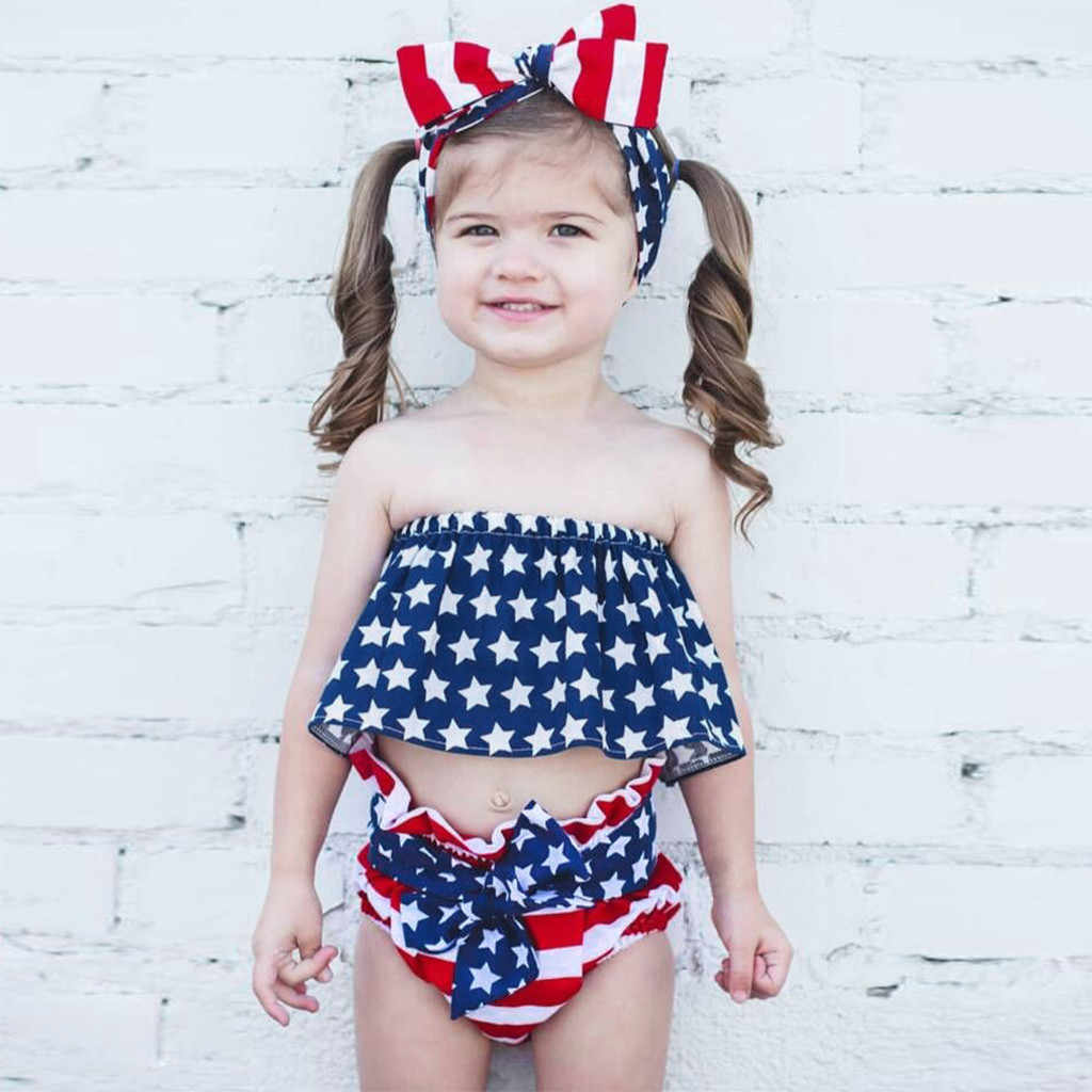 3pcs Infant Baby Girl Outfits 4th of July Star Patriotic Boob Tube Tops Shirt Striped Bow Shorts Clothes