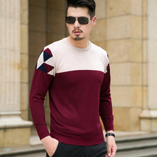 Autumn Sweater Men 2017 New Round Collar Casual Knit Pullovers Men Long Sleeve Patchwork Color Mens Knitwear Sweaters Male 8XL-M
