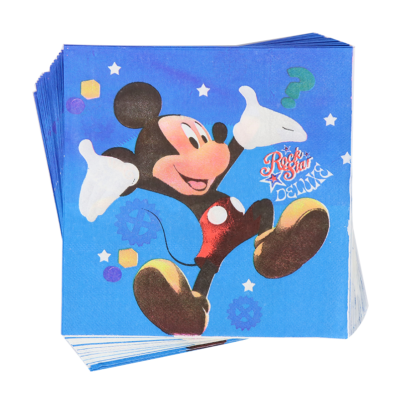 20pcs/set Mickey Cartoon Theme Paper Napkin Tissues Towel Birthday Party Decoration Supplies 33cm*33cm Kids Festival