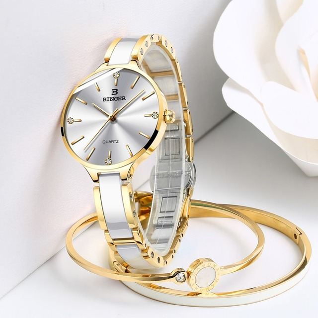 Zegarek damski Switzerland BINGER Fashion Women Watch Luxury Brand Bracelets Ceramic Watch band Sapphire Waterproof Montre femme 6