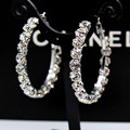 2017 Trendy Fashion Korean Crystal Round Earrings Exaggerated Nightclub Oversized Big Circle Zinc Alloy Earring for Women