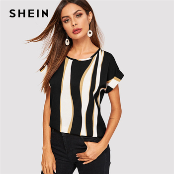 SHEIN Cuffed Sleeve Color Block Top 2019 Elegant Round Neck Roll Up Sleeve Blouse Chic Summer Short Sleeve Women Blouses