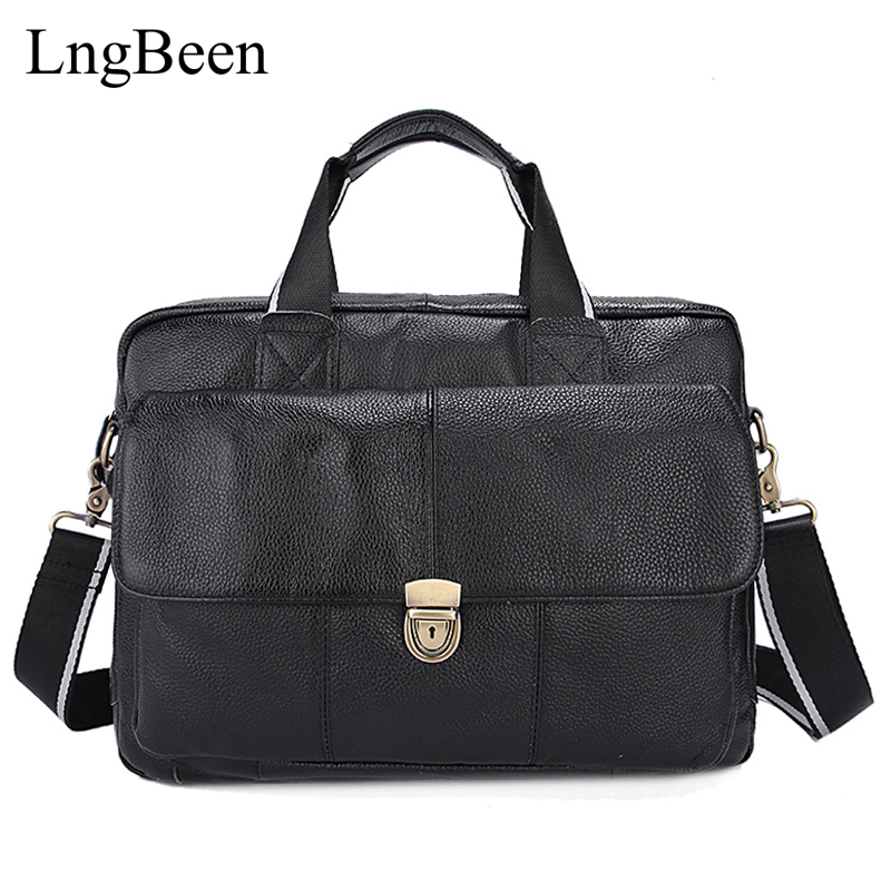Lngbeen NEW Genuine Leather Coffee Men Briefcase Laptop Business Bag Cowhide Men's Messenger Bags Luxury Lawyer Handbags LB315 купить