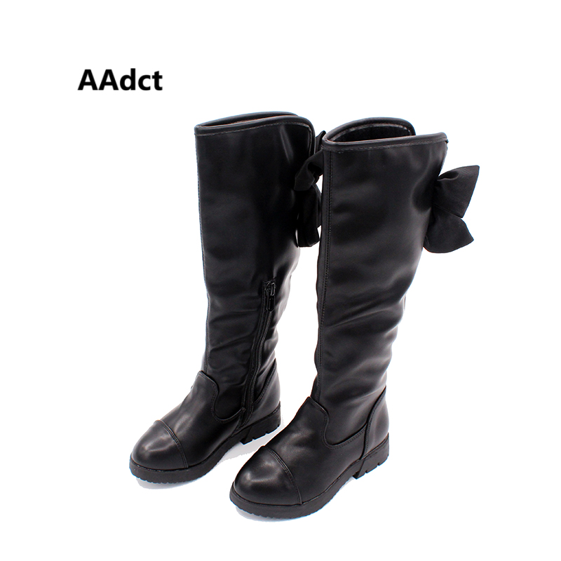 AAdct Winter childrens shoes Princess Martin boots Girls plush over-the-knee boots Kids warm fashion leather boots Bow BlackAAdct Winter childrens shoes Princess Martin boots Girls plush over-the-knee boots Kids warm fashion leather boots Bow Black