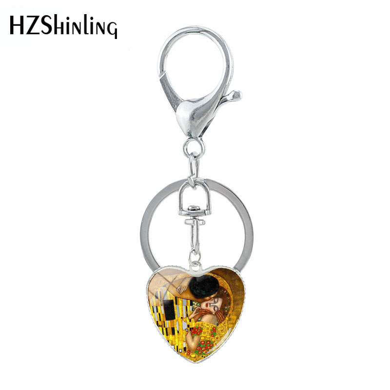 HZSHINLING Gustav Klimt Classic Painting The Kiss Art Handmade Heart Shaped Keychain Glass Pattern Pendants Fashion Jewelry