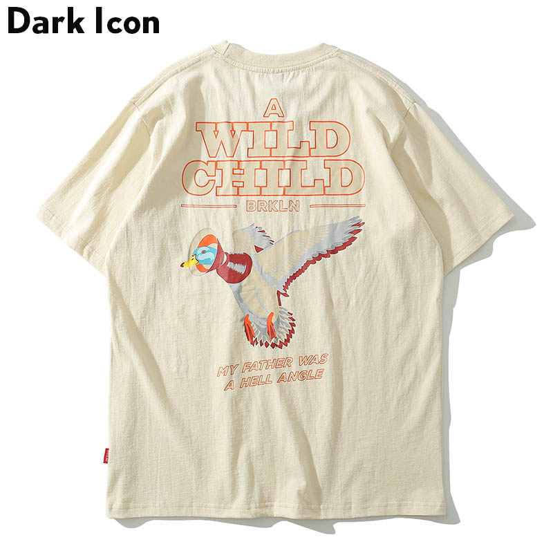 Dark Icon Wild Child Printed Hip Hop T-shirt Men 2019 Summer Round Neck Men/'s Tshirts Street Tee Shirts Cotton 3Colors