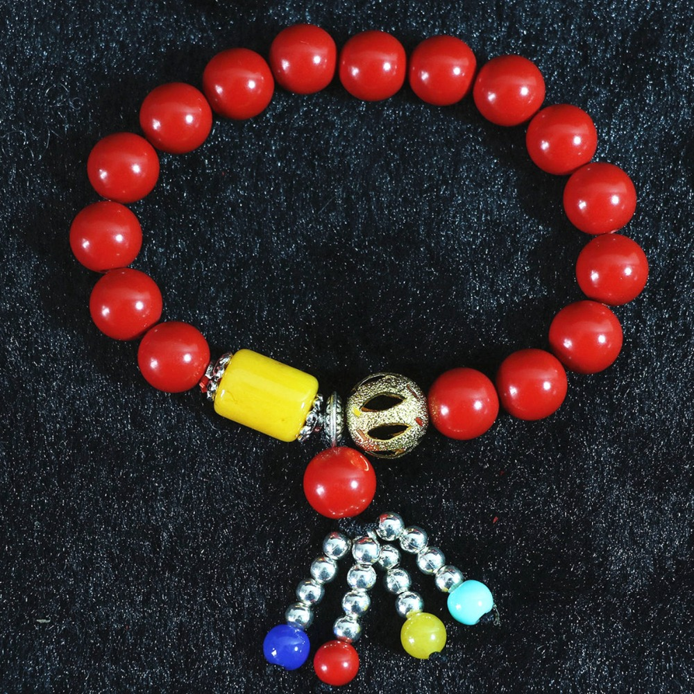synthetic Red cinnabar 10mm round with silver color beads yellowe resin beeswax hot sale bracelet B821