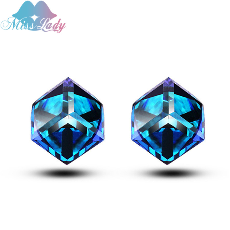 Miss Lady Silver color Austrian Crystal Love the Water Cube Stud Earrings Wholesales Fashion Jewelry for women MLY4655