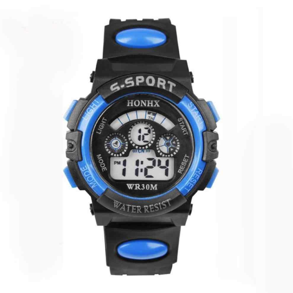 Relógios das crianças à prova dwaterproof água crianças menino digital led brilhante esportes relógio de pulso quartzo alarme data crianças relógio