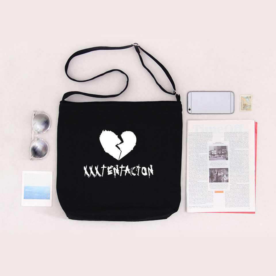 Xxxtentacion Shoulder Bag Cotton Canvas Bag Rapper Fans Hearbreak Zipper Bag Collage Large Harajuku Crossbody Bag