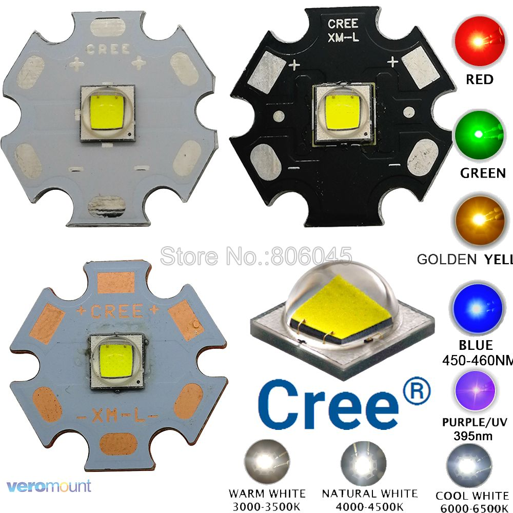 CREE XML2 LED XM-L2 Diode T6 10W White Neutral Warm White Flashlight Chip 5050 Red Green Blue UV Yellow High Power LED Emitter