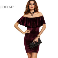 COLROVE Burgundy Ruffle Off The Shoulder Velvet Bodycon Dress Sexy Women Short Sleeve Club Wear Mini